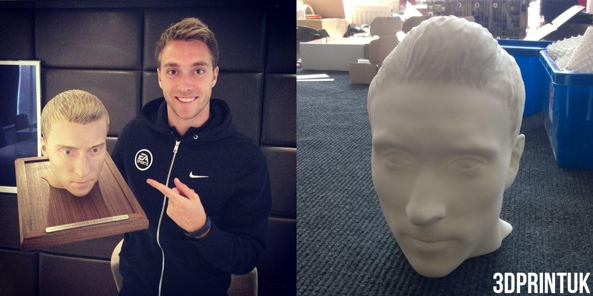 Tottenham Hotspur player Christian Eriksen with his painted 3D printed head (left) and unpainted (right).