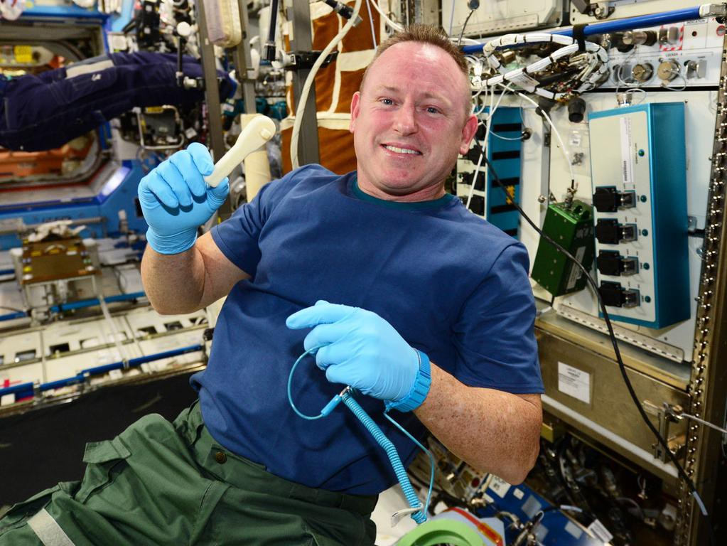 ISS Commander Barry Butch Wilmore with ratcheting socket wrench credit NASA