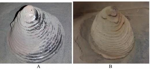 Bench-top scale freestanding structures created by Swamp Works 3D Regolith Construction process: A) BP-1 Hollow Cone Structure; (source: Additive Construction using Basalt Regolith Fines - NASA, ACSE)