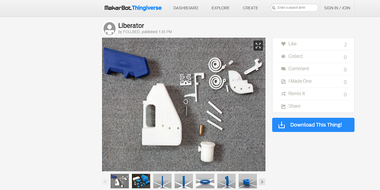 Free For All! Liberator 3D Printable Gun Files Are Currently