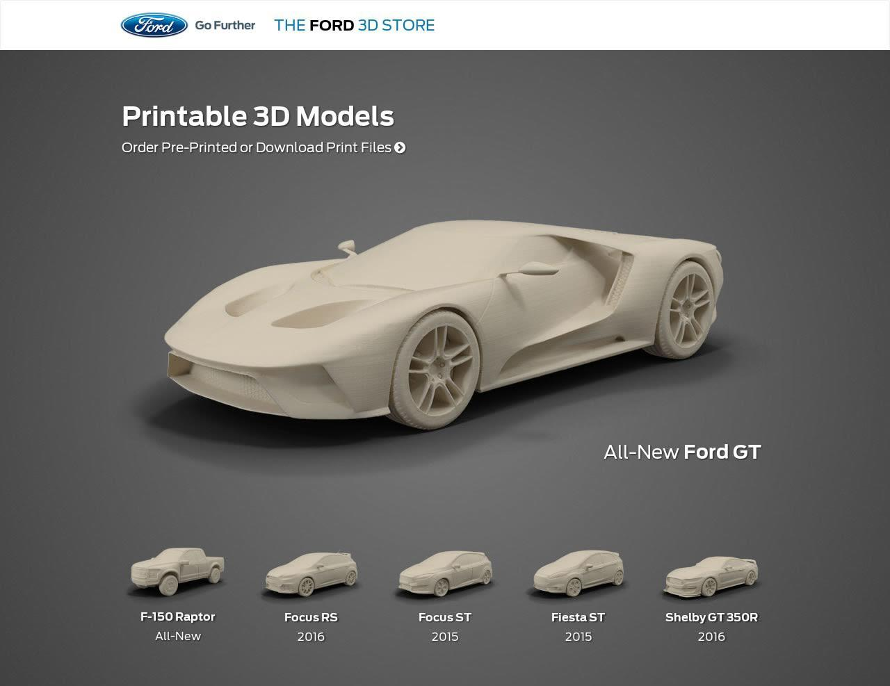 Ford launches online 3d printed model car shop print for Mobel 3d download