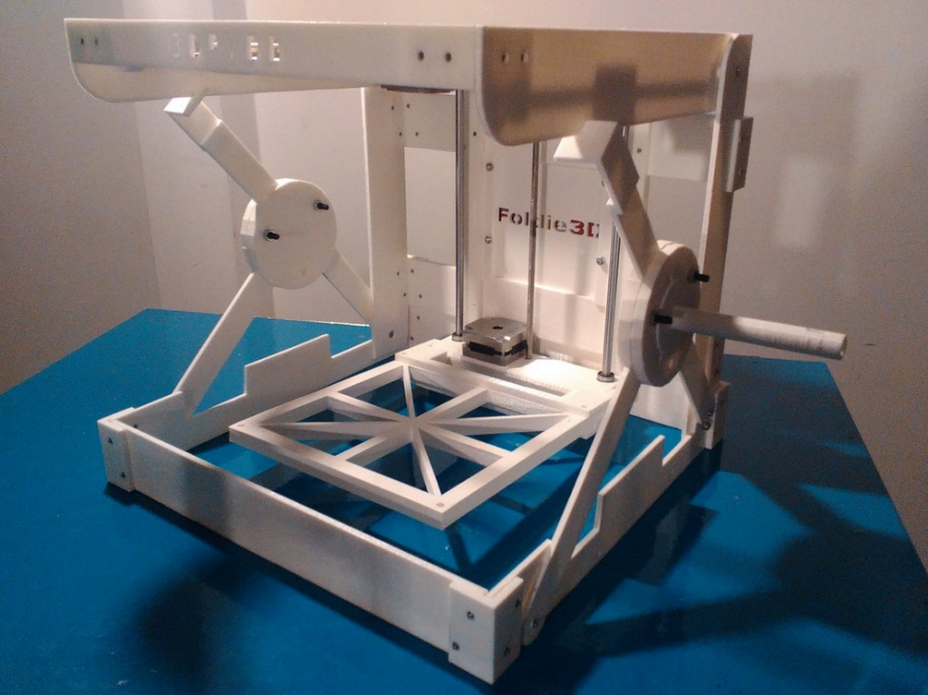 The fully assembled Foldie 3D prototype.