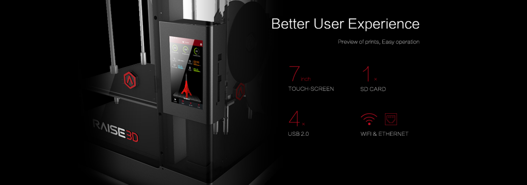 "7"" touch screen displays progress with a visual representation of the model"