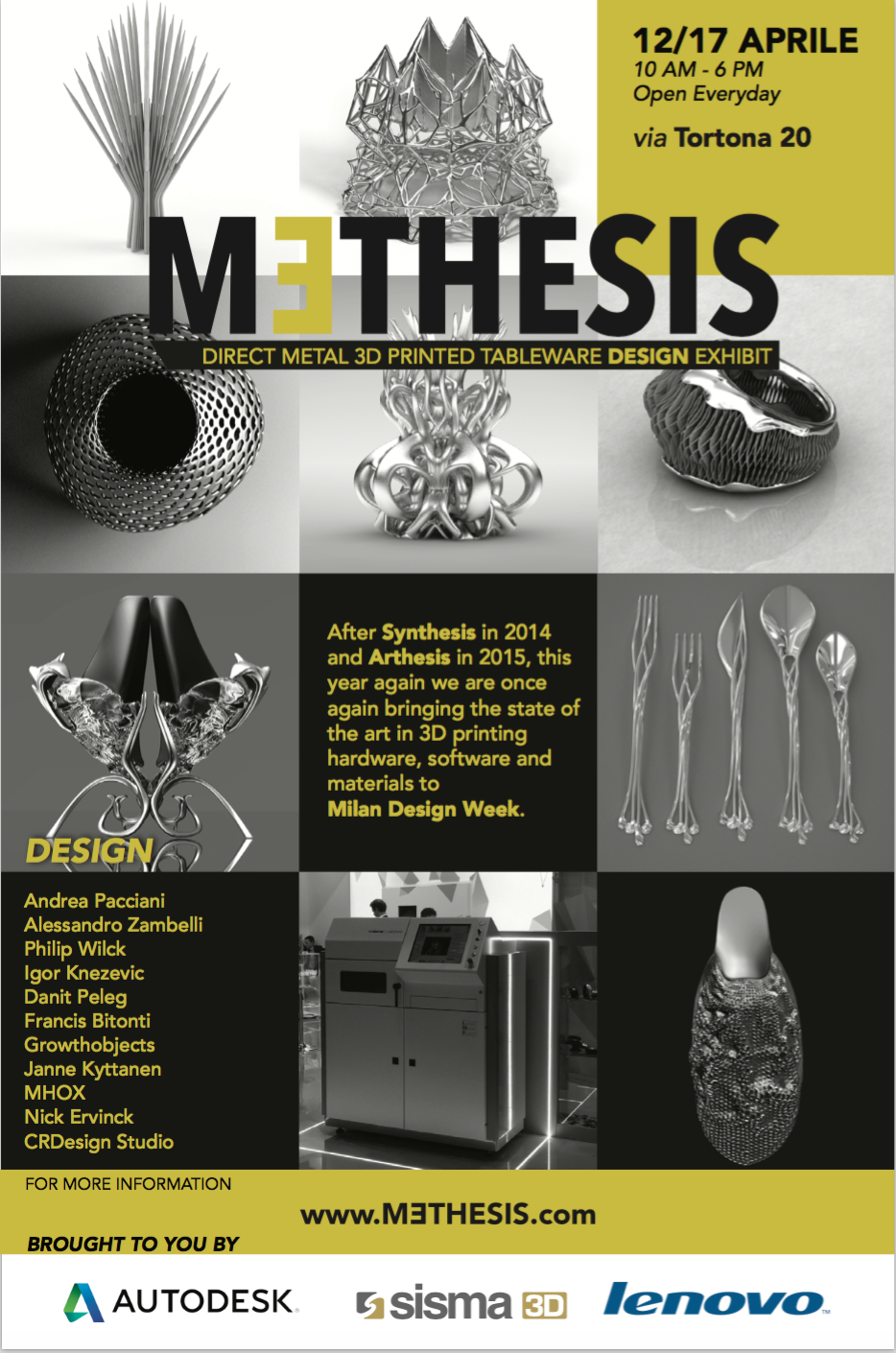 D Printing Exhibition Birmingham : MƎthesis event takes metal d printing to milan design