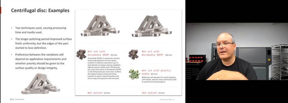 Metal finishing for 3d printed parts