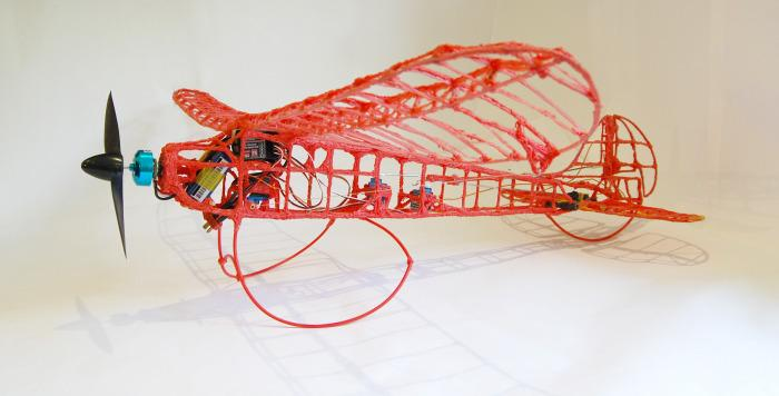 The 3Doodler RC plane, prior to wrapping the wings
