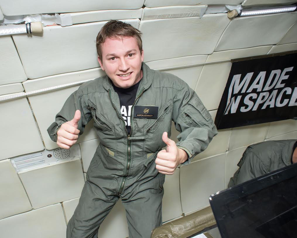 Made In Space CEO Aaron Kemmer during 2013 microgravity tests of the space-bound printer aboard Zero-G Corporation's modified Boeing 727