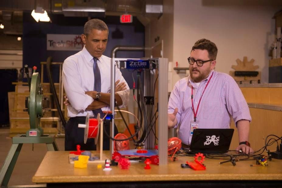 ZeGo Robotics' Andy Leer demonstrates the ZeGo bot to President Barack Obama on Tuesday at TechShop Pittsburgh