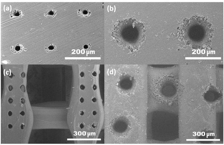 Figure 5. SEM micrographs of microholes drilled in PLA sheet (left) and woodpile structure (right): (a,c) - using sharp focussing; (b,d) - using femtosecond pulse induced light filament.