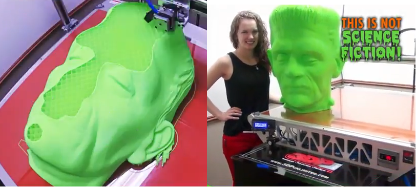 3DP Unlimited 3D Prints a 27-inch Tall Frankenstein's Monster Head in One Single Piece
