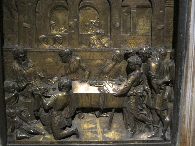 The Feast of Herod, Donatello, bronze bas relief sculpture, c. 1427, Siena Cathedral Baptistry, Siena, Italy.