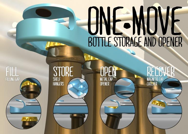 One-Move Bottle Storage and Opener