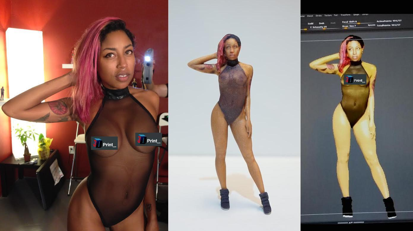 SuicideGirl Milloux Gets 3D Scanned and Printed in the Nude by CoKreeate