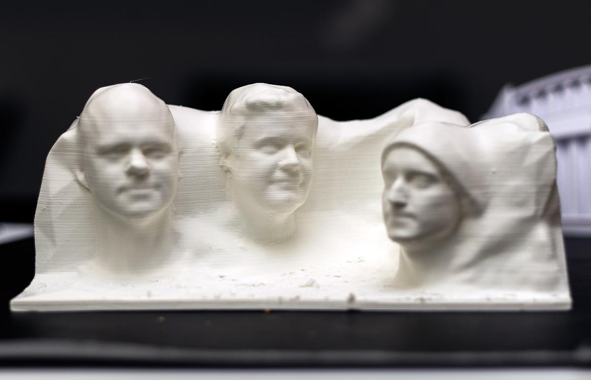 Three Men 3D Print Their Very Own Custom Mount Rushmore With Their Own Faces Attached