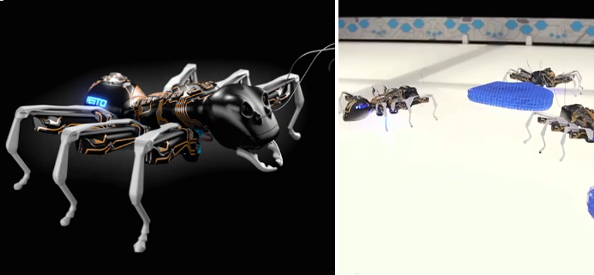 3D Printed BionicANTS & eMotionButterflies Work & Communicate Together