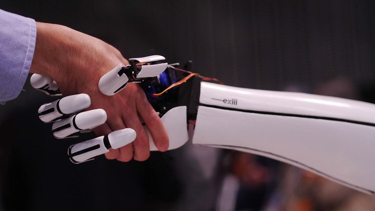 Sub $300 exiii handiii 3D Printed Open Source Bionic Hand is Controlled by a Smartphone