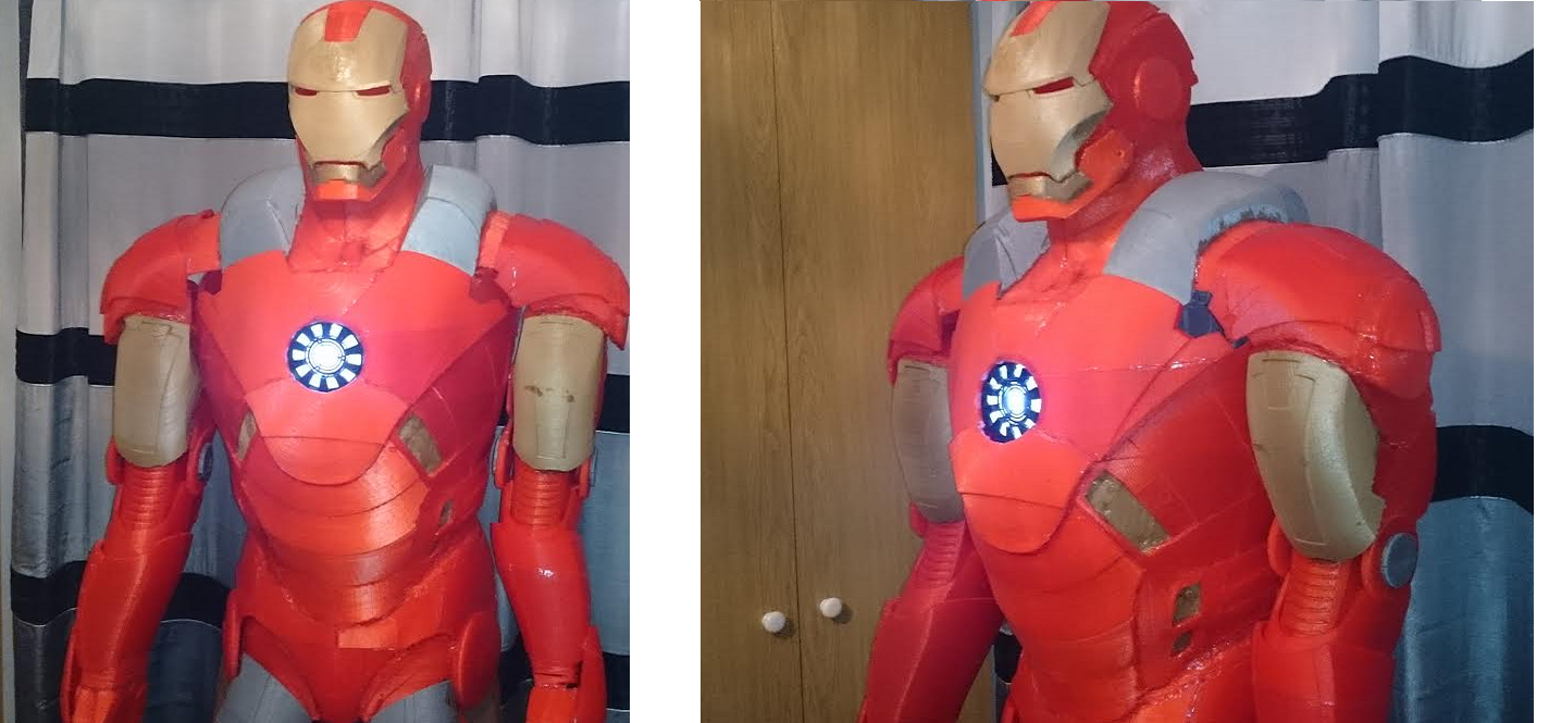 Life-Size 3D Printed Iron Man Suit Used Over 1.8 Miles of Plastic Filament, Took 14 Months to Complete