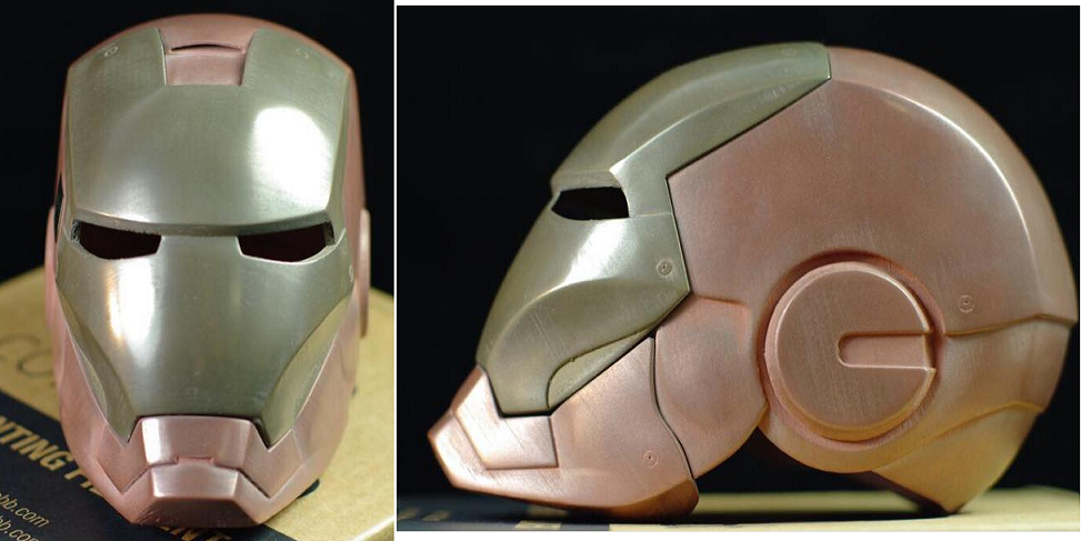 Mass Portal 3D Prints a Metal Iron Man Helmet Using ColorFabb Metallic Filament