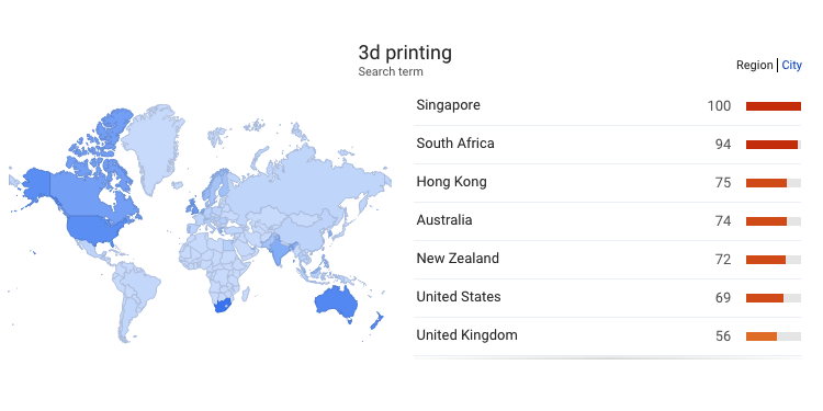3D Printing/Additive Manufacturing Geographical Search Trends