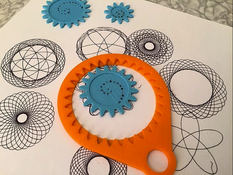 this 3d printed spirograph allows you to draw fascinating