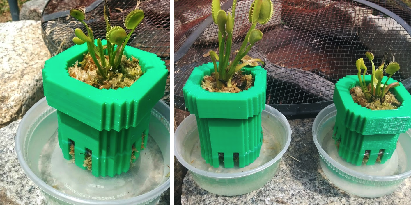 BEWARE: These 3D Printed Super Mario Bros. Warp Pipes Have Real Carnivorous Plants Living Inside!