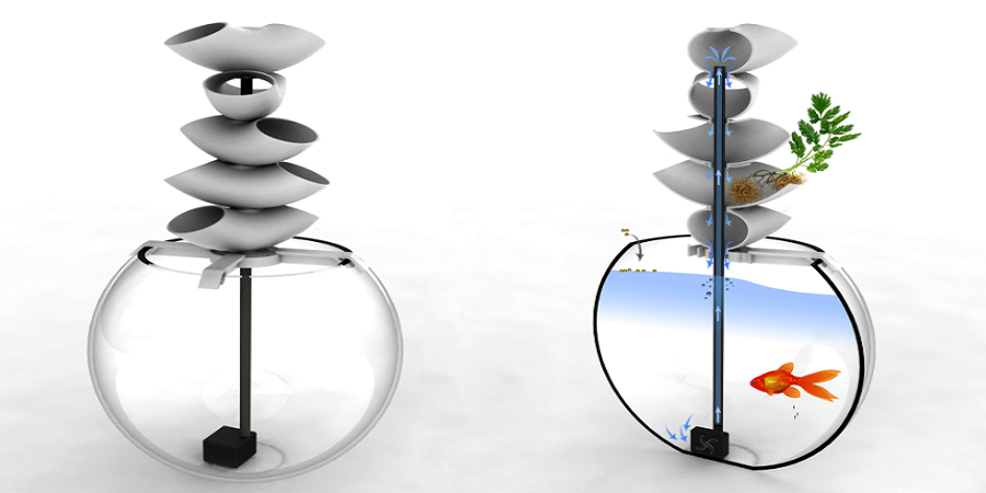 The 3D Printed Cascaqua: Aquaponics Allow Fish & Plants to Live Together Symbiotically