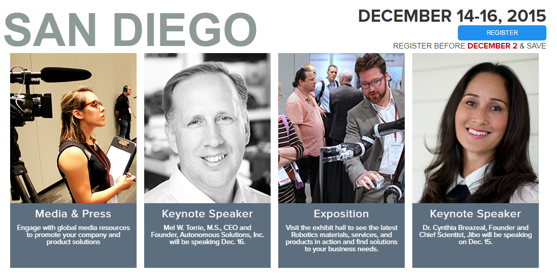 San Diego: MecklerMedia's RoboUniverse Conference & Expo Features Over 80 Speakers, Including Mayor Kevin Faulconer