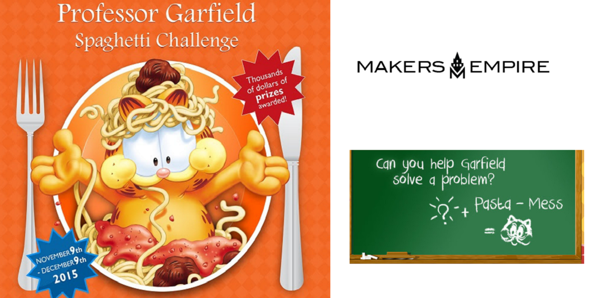 Kids' 3D Spaghetti Utensil Design Competition Sponsored by Makers Empire, New York Institute of Technology, and Professor Garfield