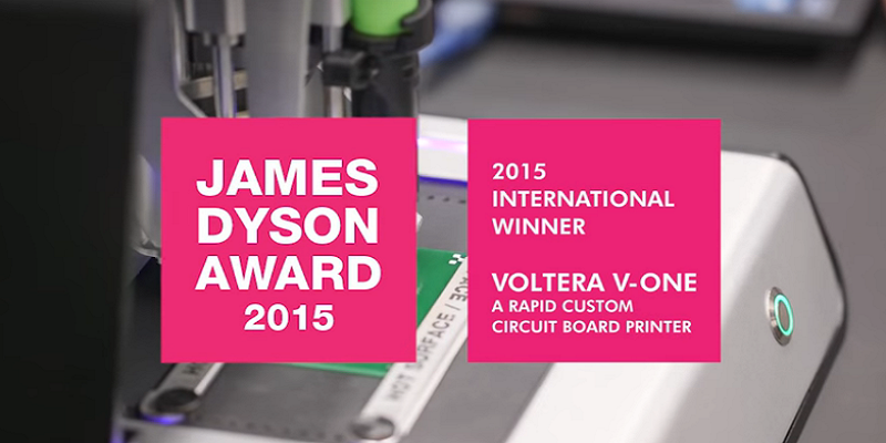 Making PCBs–And Fast! University of Waterloo Grads Win Dyson Award for Voltera V-One, Inspired by 3D Printer