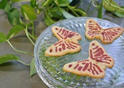 3D printed butterfly cookies.