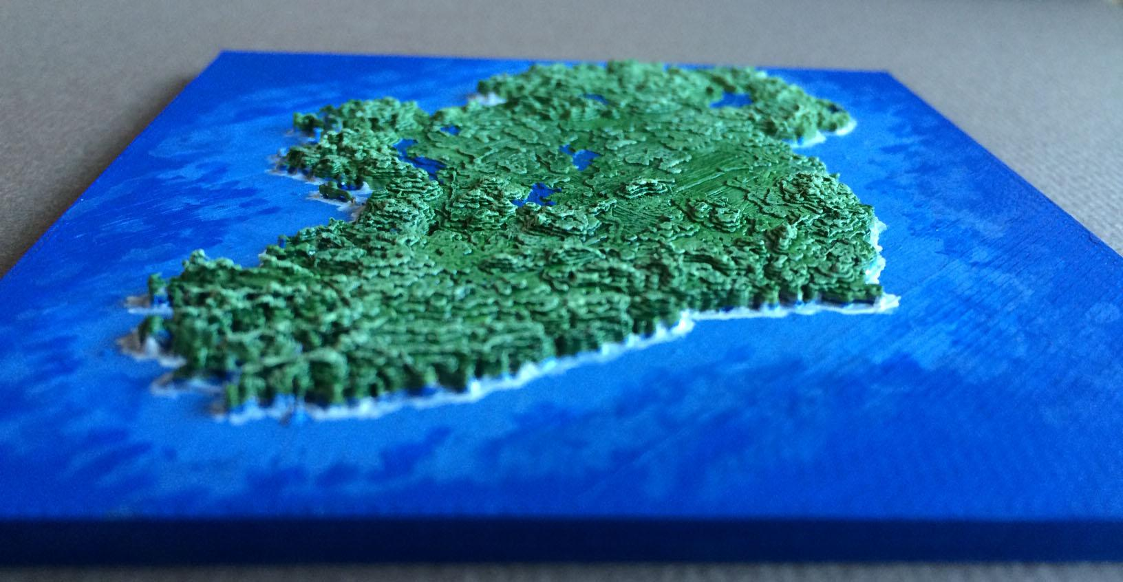 Ireland Elevation Map.Beautiful Map Of Ireland Is 3d Printed Using Digital Topographic