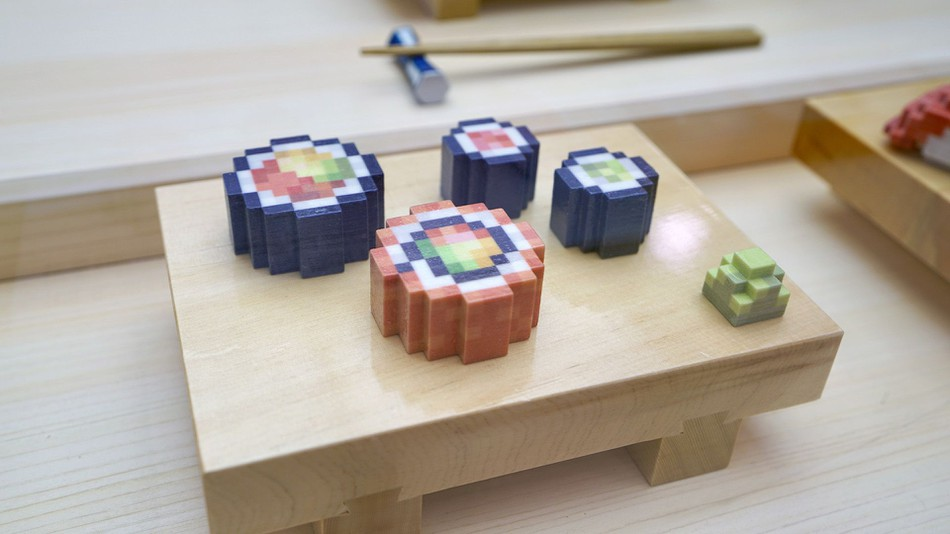 3D Printed Food Startup Presents Peculiarly Pixelated Sushi at SXSW