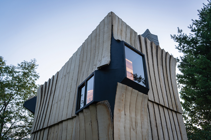 Sustainable Cabin Constructed on 3D-Printed Concrete Stilts from Infested Ash Wooden 8