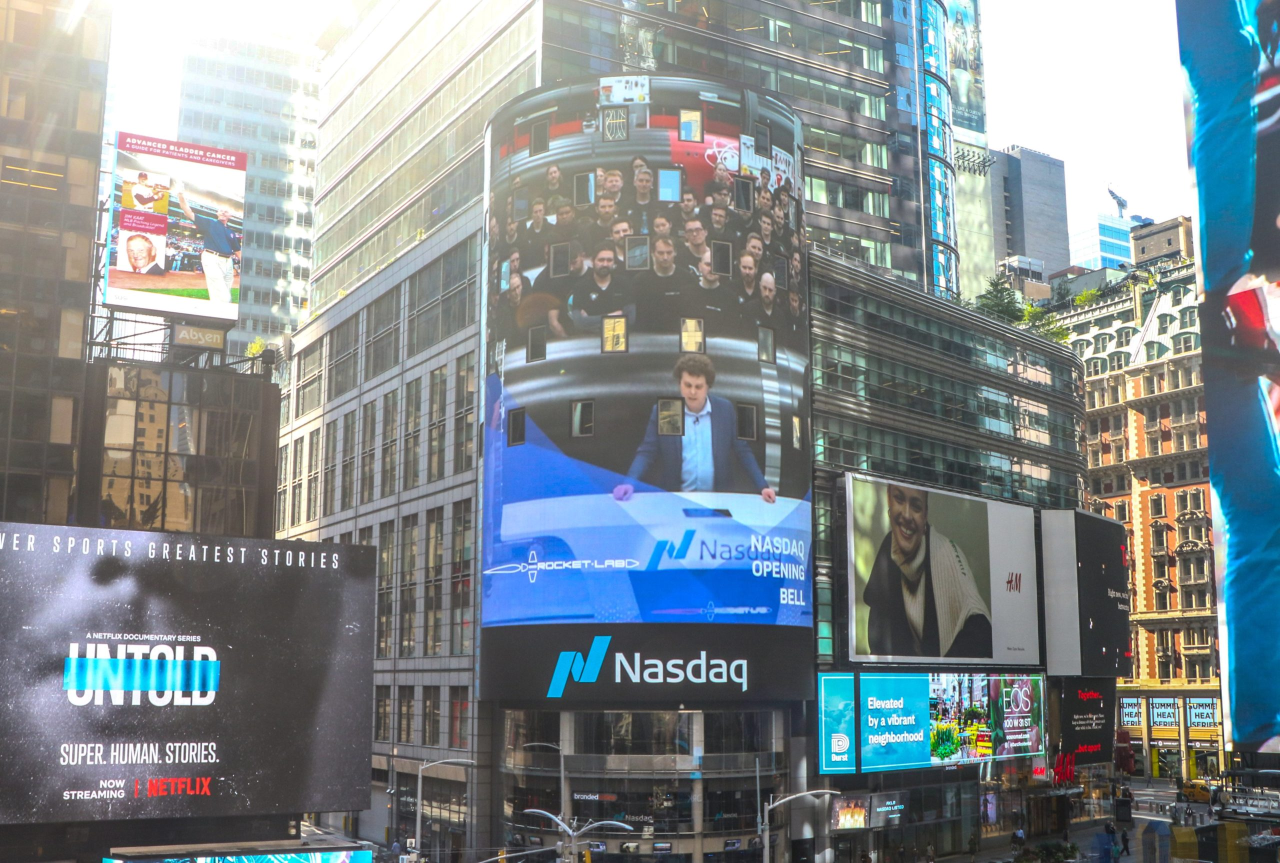 Rocket Lab CEO Peter Beck seen on the LED Nasdaq display at Times Square, New York, on August 25, 2021, as the company goes public.